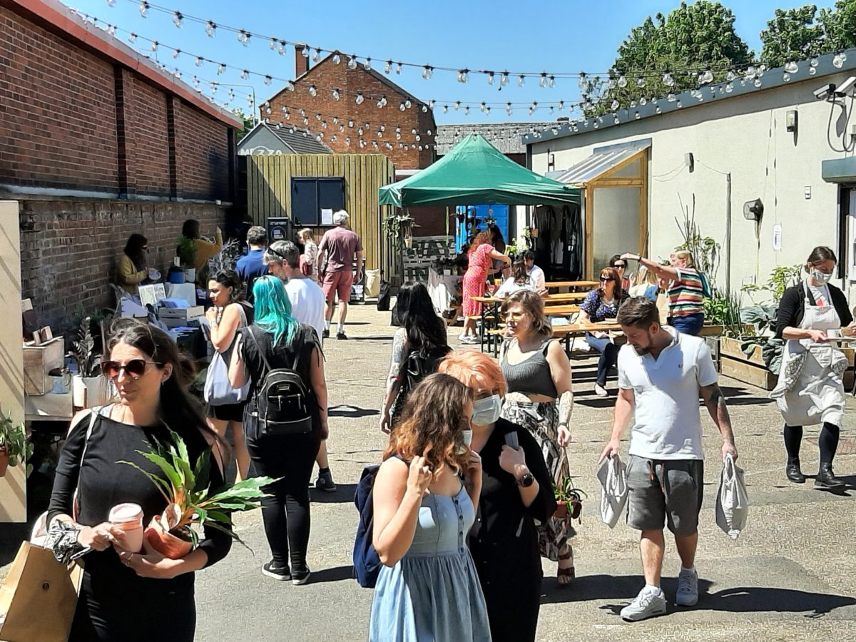 The Traders courtyard and cafe at the leaf houseplant festival 2021